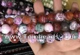 CAA3187 15 inches 14mm faceted round fire crackle agate beads wholesale