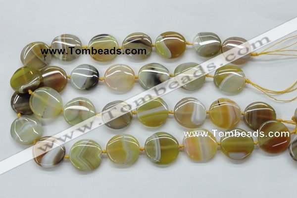 CAA319 15.5 inches 25mm flat round yellow line agate beads