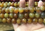 CAA3196 15 inches 14mm faceted round fire crackle agate beads wholesale
