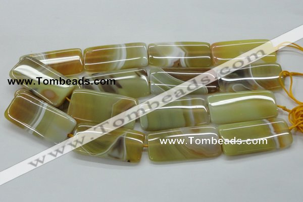 CAA323 15.5 inches 24*50mm rectangle yellow line agate beads