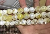 CAA3236 15 inches 16mm faceted round fire crackle agate beads wholesale