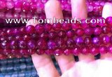 CAA3334 15 inches 8mm faceted round agate beads wholesale