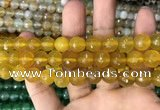 CAA3365 15 inches 10mm faceted round agate beads wholesale