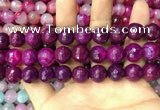CAA3401 15 inches 12mm faceted round agate beads wholesale