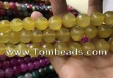 CAA3429 15 inches 14mm faceted round agate beads wholesale