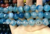 CAA3434 15 inches 14mm faceted round agate beads wholesale