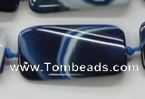 CAA345 15.5 inches 20*45mm twisted rectangle blue line agate beads