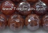 CAA3512 15.5 inches 12mm faceted round AB-color fire agate beads