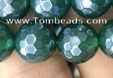 CAA3545 15.5 inches 10mm faceted round AB-color green agate beads