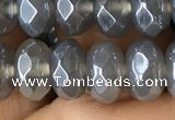 CAA3571 15.5 inches 5*8mm faceted rondelle AB-color grey agate beads