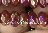 CAA3572 15.5 inches 5*8mm faceted rondelle AB-color red agate beads