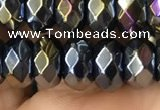 CAA3573 15.5 inches 5*8mm faceted rondelle AB-color black agate beads