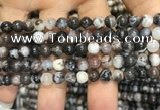 CAA3592 15.5 inches 6mm round black zebra agate beads wholesale