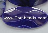 CAA360 15.5 inches 30*40mm faceted oval violet line agate beads