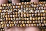 CAA3601 15.5 inches 4mm round yellow crazy lace agate beads