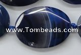 CAA365 15.5 inches 30*40mm faceted oval blue line agate beads
