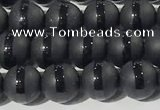 CAA3650 15.5 inches 6mm round matte & carved black agate beads