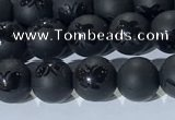 CAA3665 15.5 inches 6mm round matte & carved black agate beads