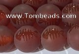 CAA3688 15.5 inches 10mm round matte & carved red agate beads