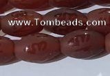 CAA3691 15.5 inches 8*12mm rice matte & carved red agate beads