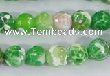 CAA371 15.5 inches 10mm faceted round fire crackle agate beads