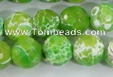 CAA373 15.5 inches 14mm faceted round fire crackle agate beads