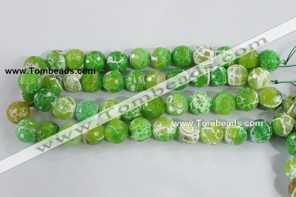CAA374 15.5 inches 16mm faceted round fire crackle agate beads