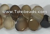 CAA3753 Top drilled 5*8mm flat teardrop line agate beads