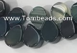 CAA3756 Top drilled 5*8mm flat teardrop line agate beads