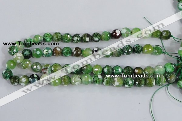 CAA376 15.5 inches 10mm faceted round fire crackle agate beads