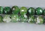 CAA377 15.5 inches 12mm faceted round fire crackle agate beads