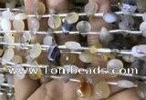 CAA3836 Top drilled 8*12mm faceted briolette montana agate beads