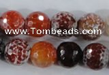 CAA389 15.5 inches 18mm faceted round fire crackle agate beads