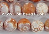 CAA391 15.5 inches 14mm faceted round fire crackle agate beads