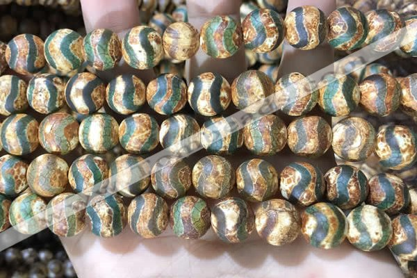 CAA3922 15 inches 12mm round tibetan agate beads wholesale