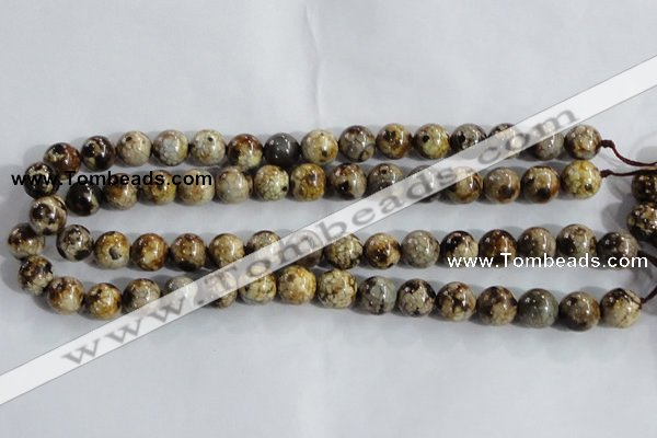 CAA394 15.5 inches 10mm round fire crackle agate beads wholesale
