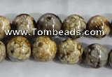 CAA396 15.5 inches 14mm round fire crackle agate beads wholesale