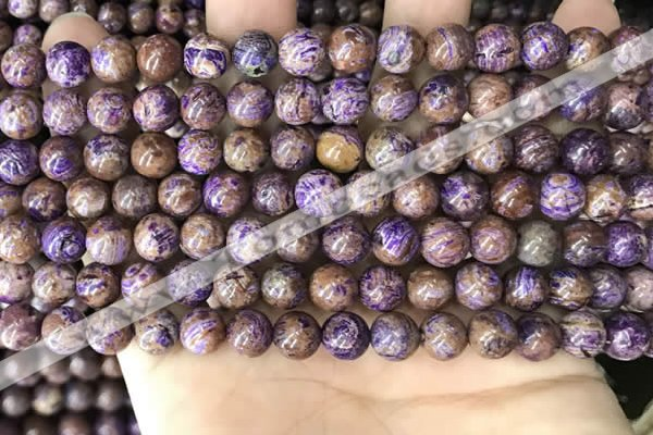 CAA4001 15.5 inches 6mm round purple crazy lace agate beads