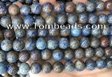 CAA4011 15.5 inches 10mm round blue crazy lace agate beads