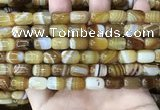 CAA4151 15.5 inches 8*12mm drum line agate beads wholesale