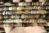 CAA4195 15.5 inches 8*15mm carved drum line agate gemstone beads