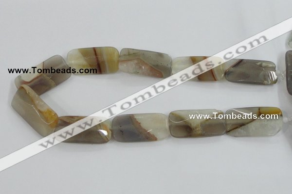 CAA421 15.5 inches 20*40mm faceted rectangle agate druzy geode beads