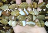 CAA4221 15.5 inches 18*25mm flat teardrop line agate beads wholesale