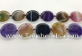 CAA4300 15.5 inches 30mm flat round line agate beads wholesale