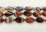 CAA4301 15.5 inches 25*30mm twisted oval line agate beads