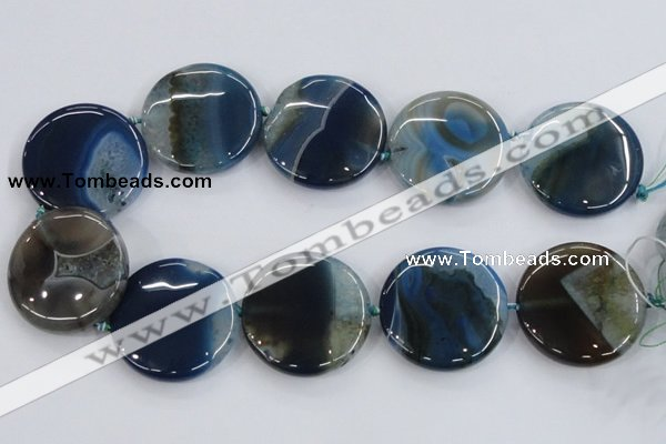 CAA433 15.5 inches 40mm flat round agate druzy geode beads