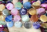 CAA4406 15.5 inches 20mm flat round agate druzy geode beads