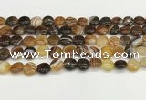 CAA4580 15.5 inches 10mm flat round banded agate beads wholesale