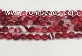 CAA4583 15.5 inches 10mm flat round banded agate beads wholesale