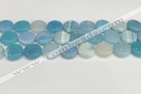 CAA4616 15.5 inches 18mm flat round banded agate beads wholesale